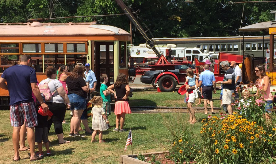 Visitors enjoying the activities at the trolley museum
