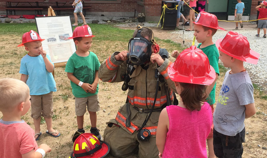 Climb, ride and learn about fire trucks