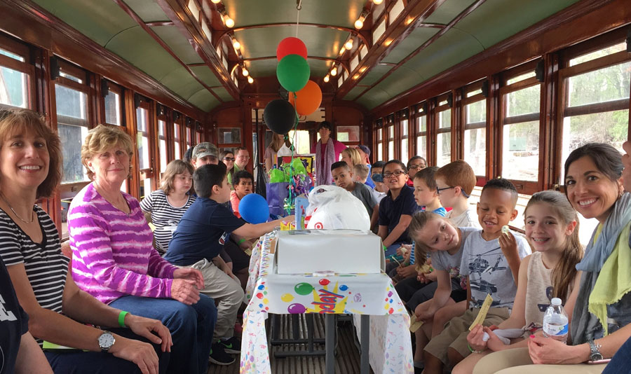 Party down the tracks aboard the birthday trolley!